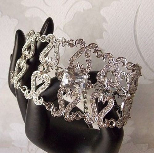 Victorian Style Bridal Tennis Bracelet made with Swarovski Crystal Wedding Jewel