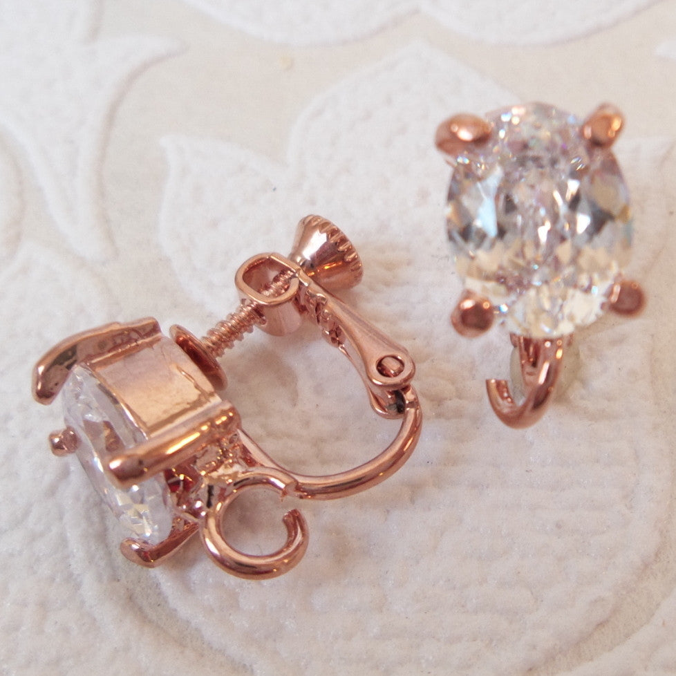 Clip-On Converter with Clear Oval Shaped Cubic Zirconia on Adjustable Screwback with Hinge
