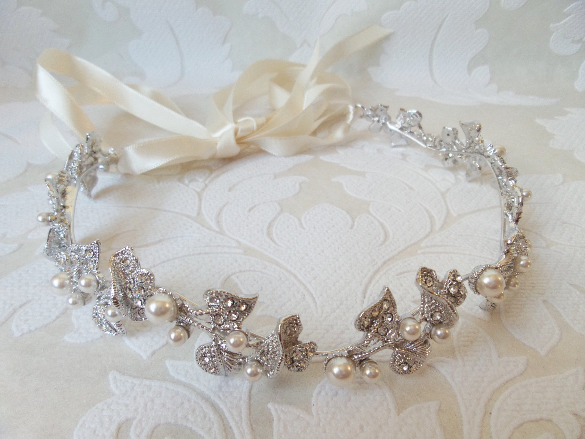 Rose Vine Bridal Headpiece with Flexible Headband and Ribbon Tie for Vintage Wedding