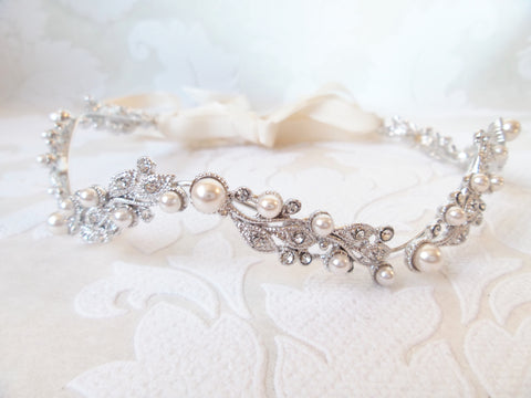 Bridal Headpiece with Flexible Headband and Ribbon Tie for Vintage Wedding in Floral Vine Motif