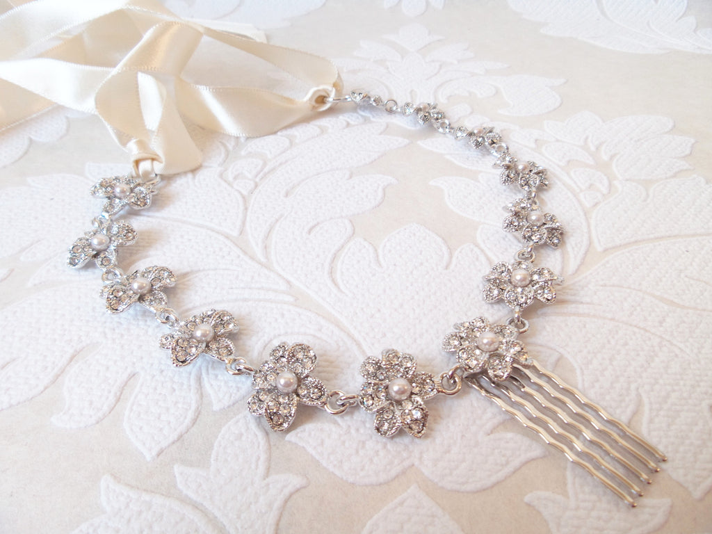 Floral Vine Bridal Hair Chain with Com and Ribbon Tie for Vintage Wedding Headpiece