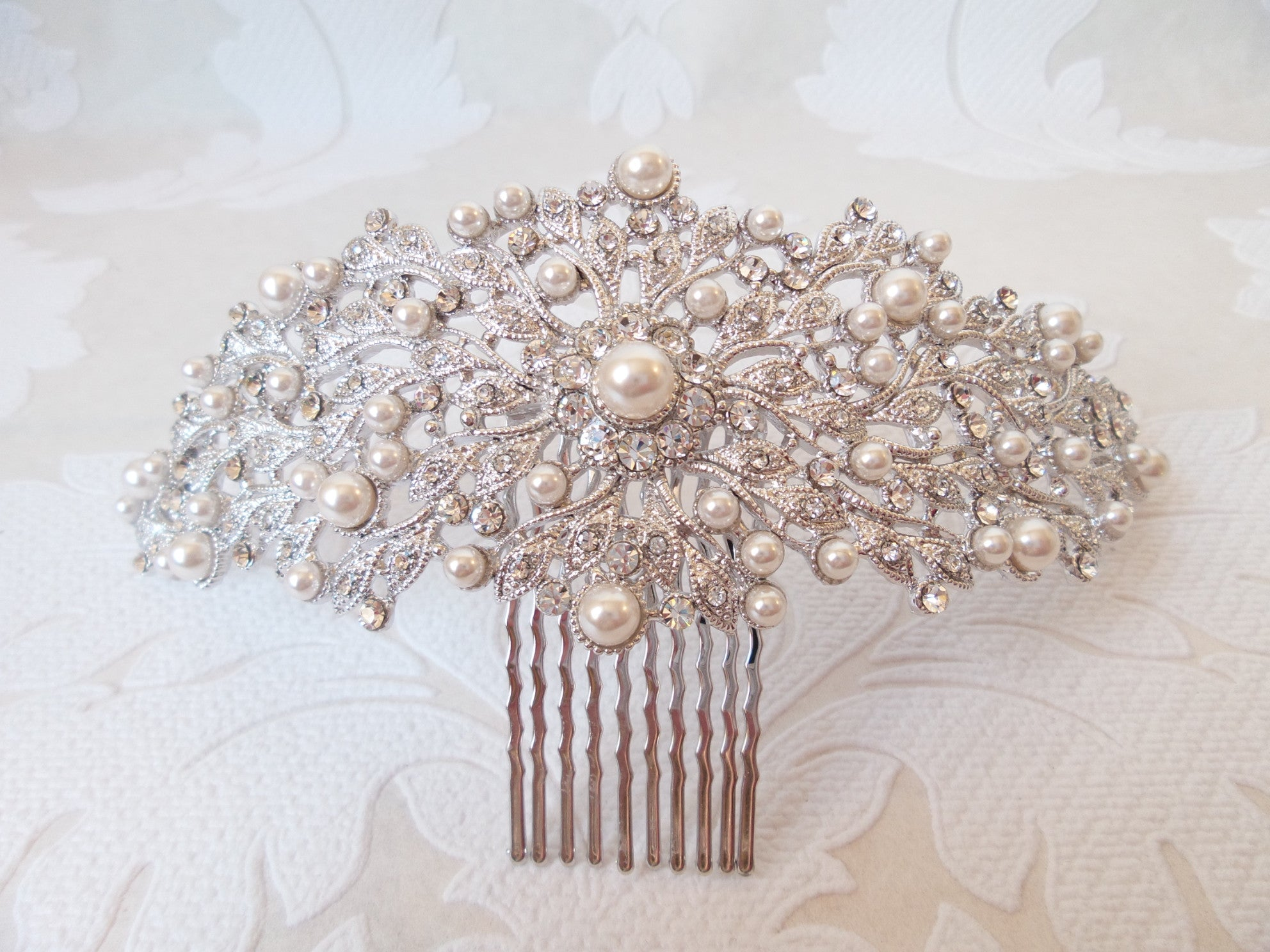 Floral Flair Bridal Hair Comb by SNK with Swarovski Crystal and Swarovski Pearl Headpiece