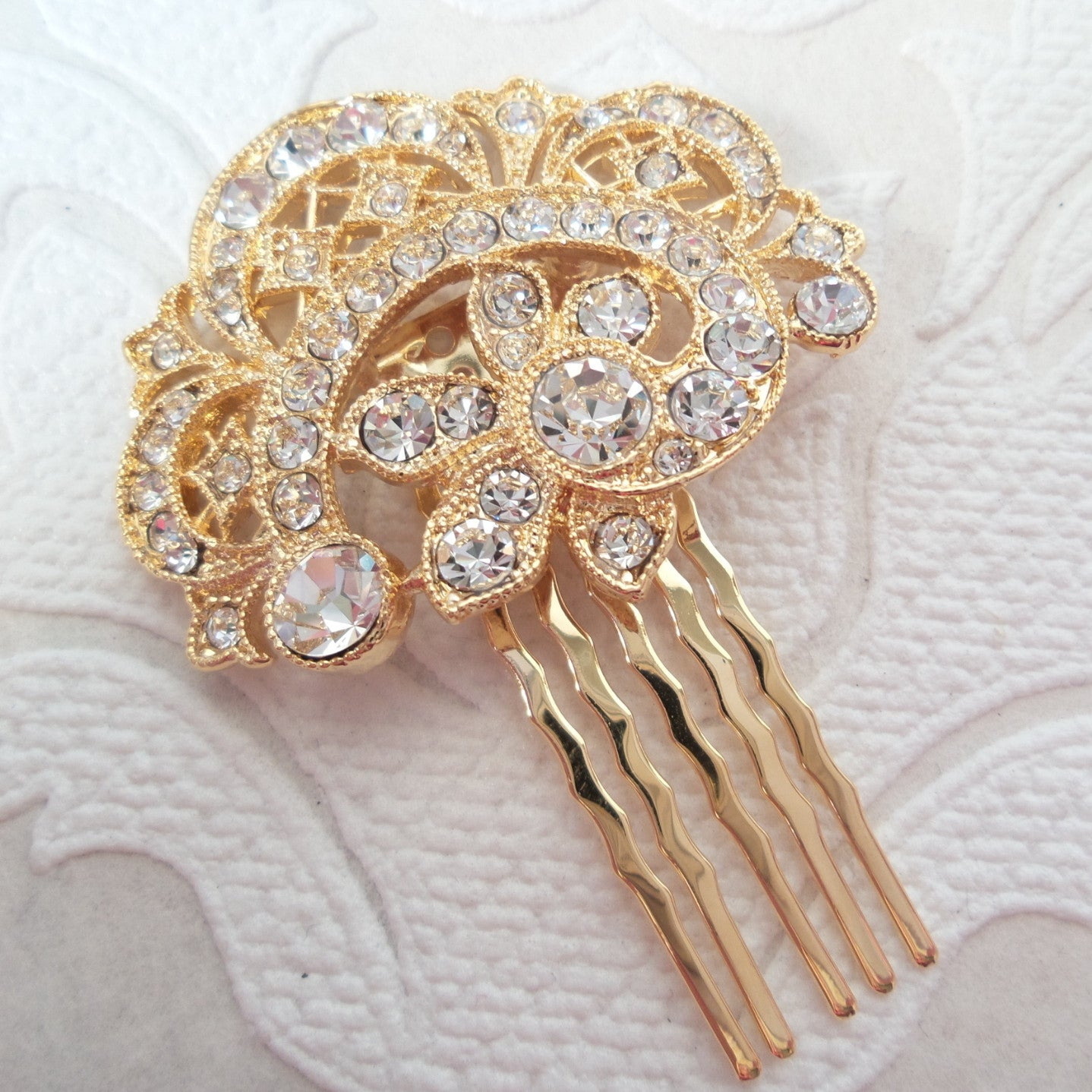 Victorian Swirl Wedding Hair Comb with Clear Swarovski Crystal Bridal Jewelry