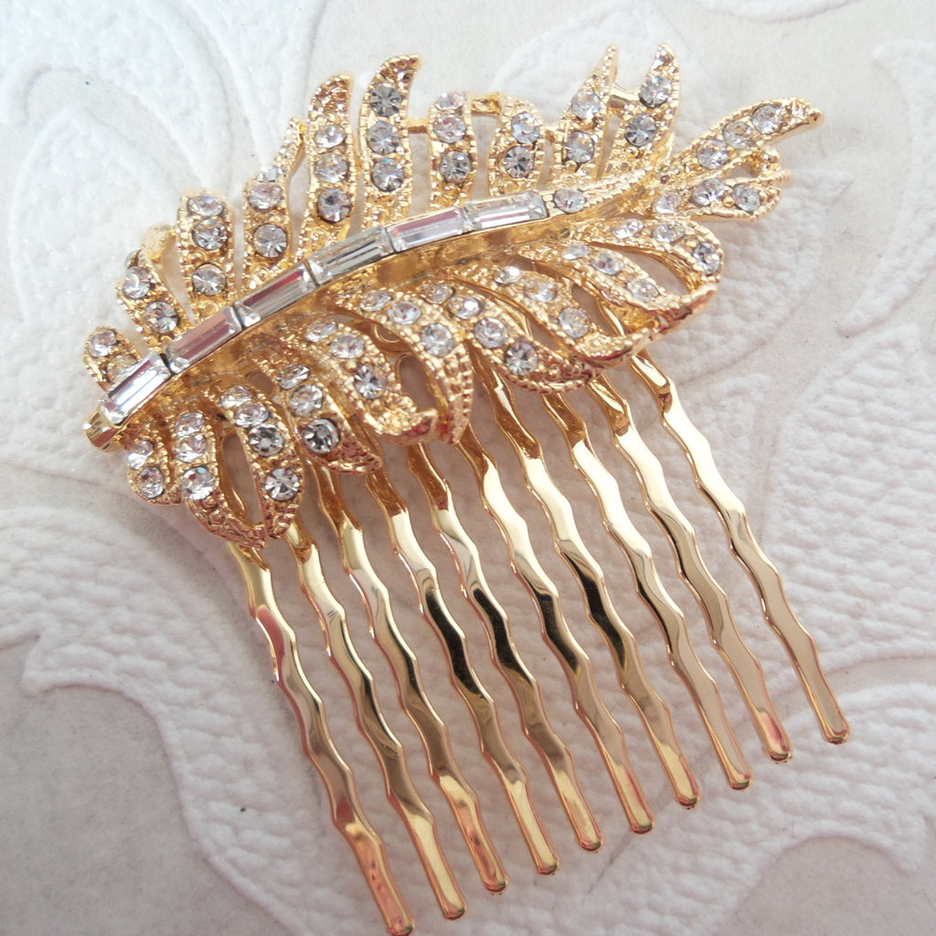 Feather Wedding Hair Comb with Clear Swarovski Crystal Bridal Jewelry
