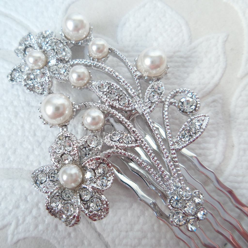 Floral Bouquet Wedding Hair Comb with Clear Swarovski Crystal Bridal Jewelry