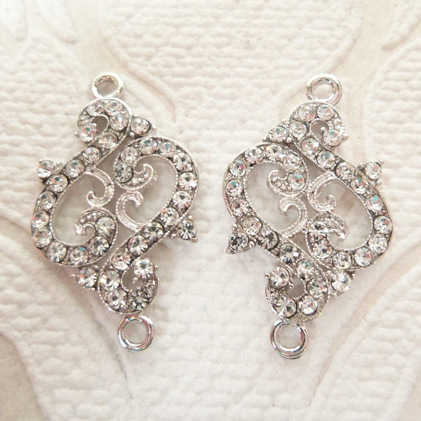 Swirl Connector Rhinestone Chandelier Earring Components