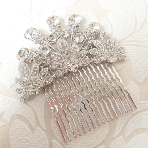 Vintage Hollywood Rhinestone Hair Comb for DIY Birdcage Veil or Fascinator