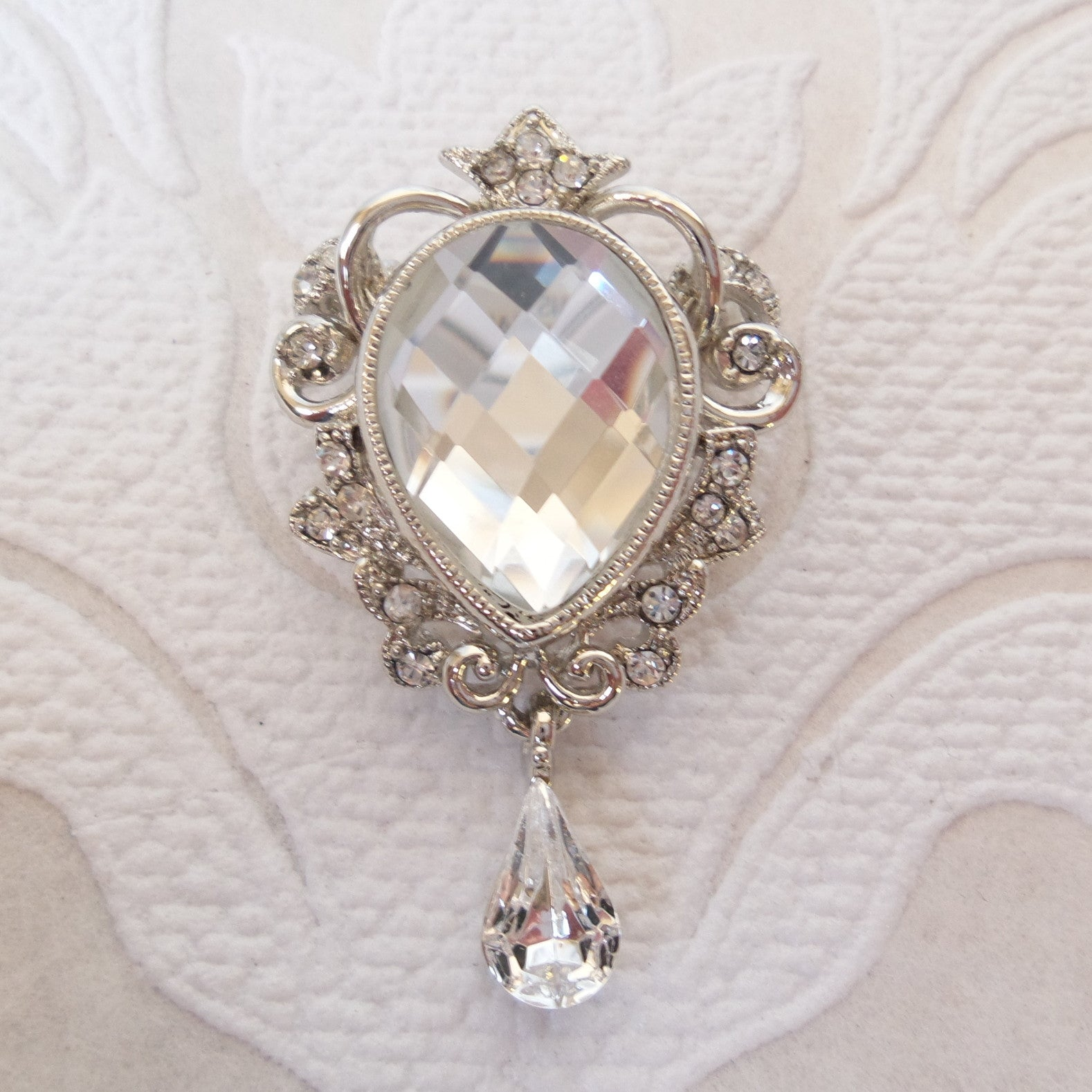 Victorian Bridal Brooch Wedding Pin made with Swarovski Crystal