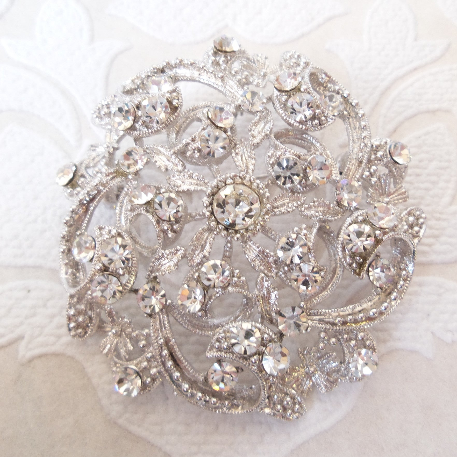Bridal Wedding Vintage Style Brooch made w/ Clear Swarovski Crystal Pin