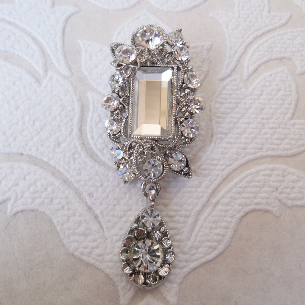 Vintage Bridal Brooch Victorian Style Pin made with Swarovski Crystal