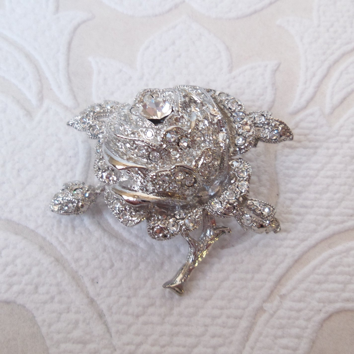 White Rose Flower Bridal Brooch Pin made with Swarovski Crystal
