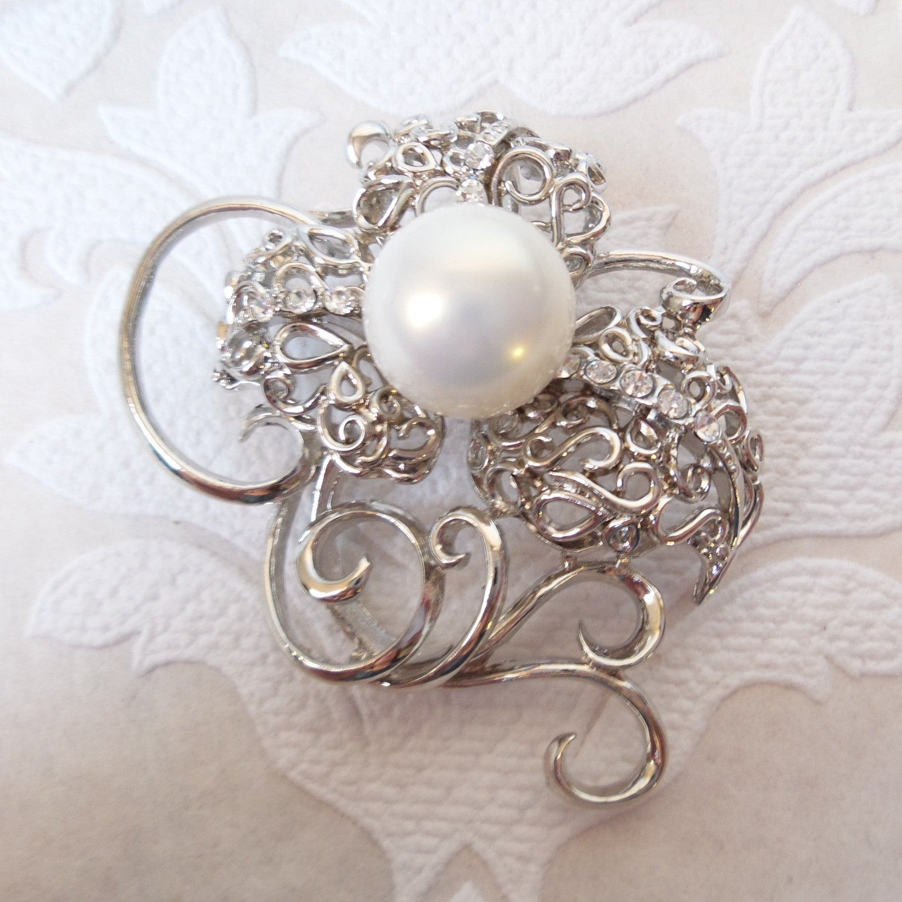 Floral Bridal Brooch Pearl Wedding Pin made with Swarovski Crystal