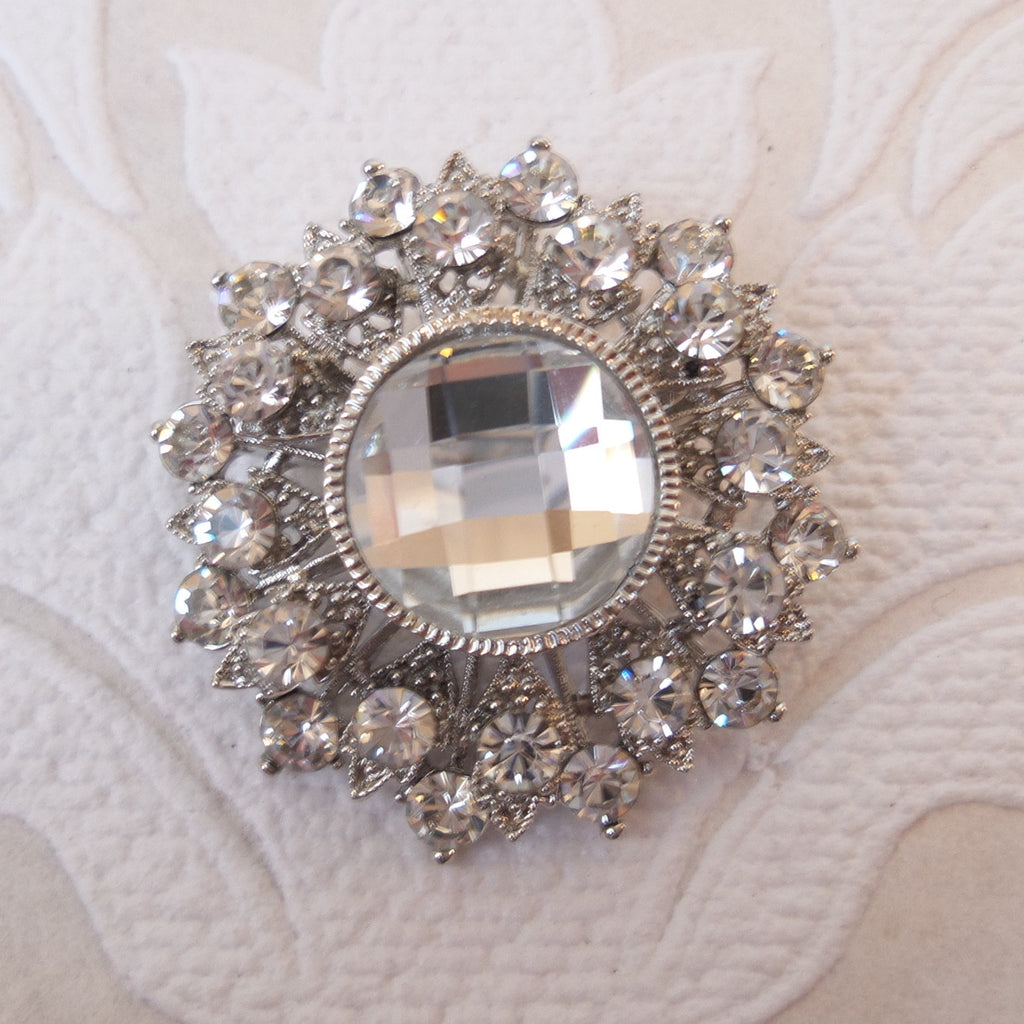 Round Bridal Brooch Wedding Pin made with Swarovski Crystal