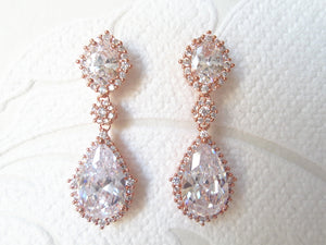 Classic Bridal CZ Drop Earrings