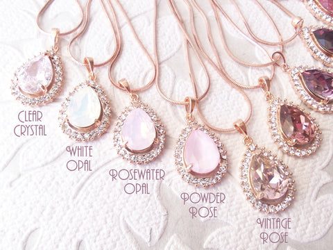 Blush Rose Custom Color Pendants on Chains