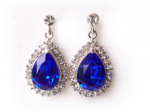 Custom Color Teardrop Earrings with 14mm Swarovski Crystal