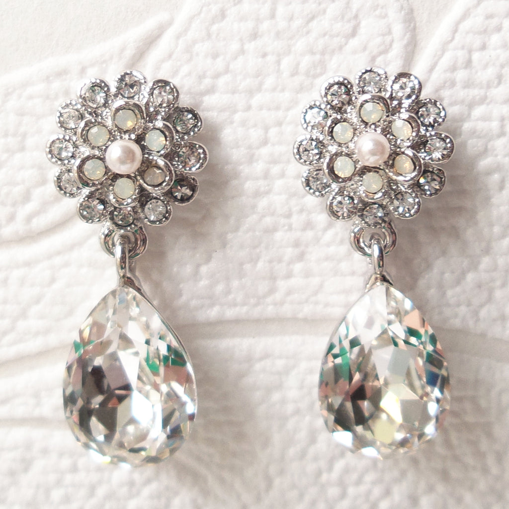 Floral Drop Bridal Earrings