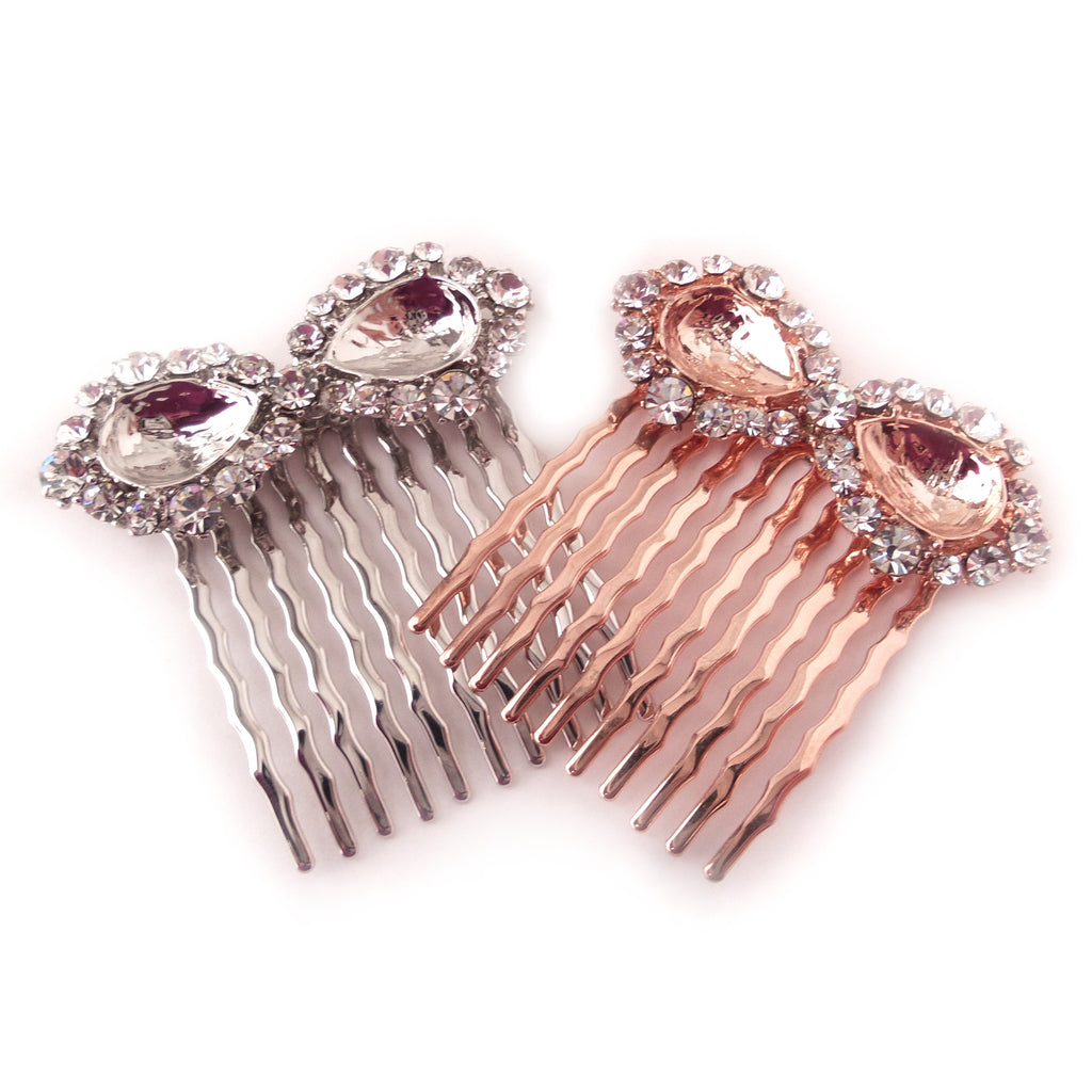 Halo Hair Comb Settings for 10 x 14mm Pear Rhinestone
