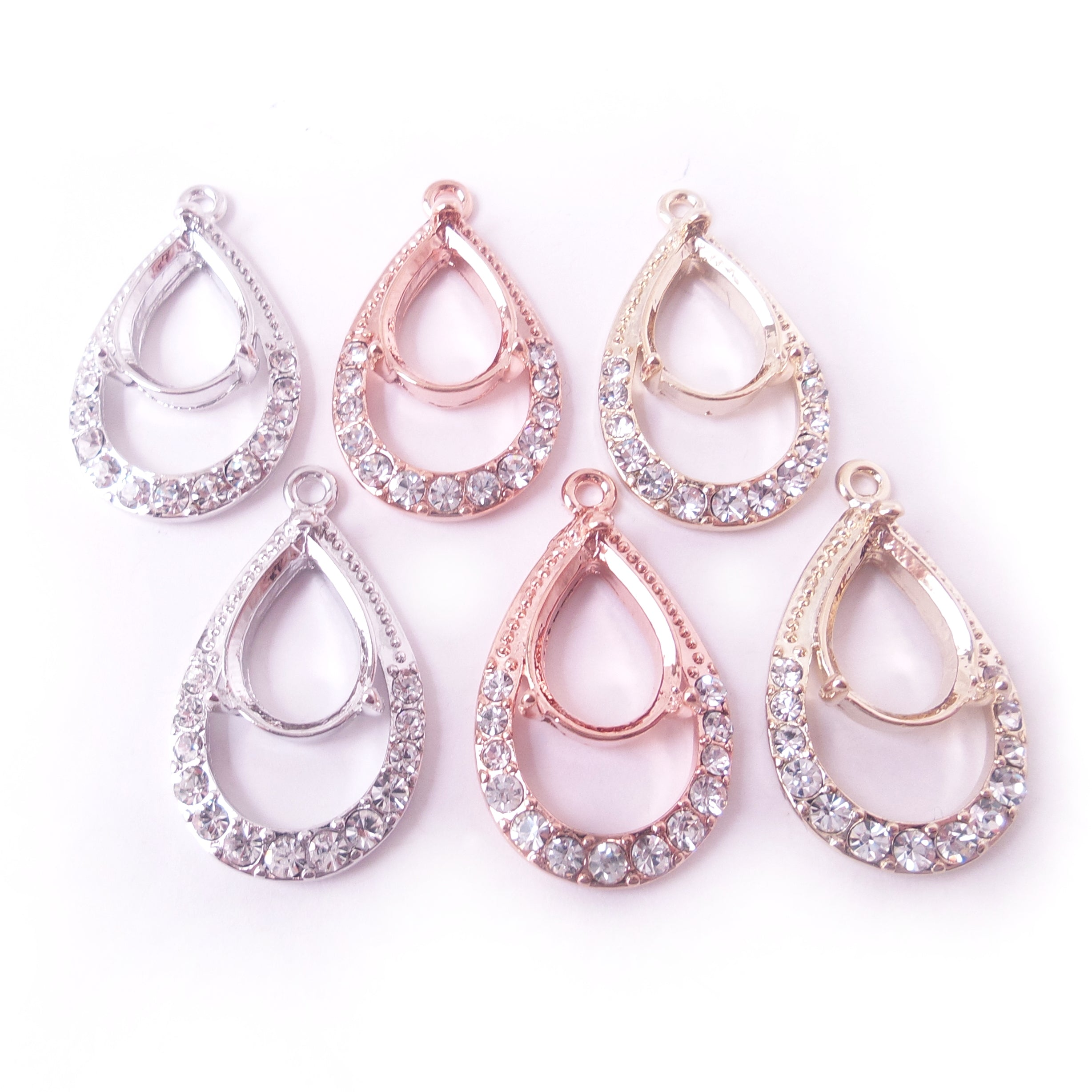 Earring Body Components for 10 x 14mm Pear Rhinestone Setting Finding