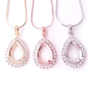 Halo Necklace Component Settings for 14x10mm Pear Rhinestone Pendant Findings