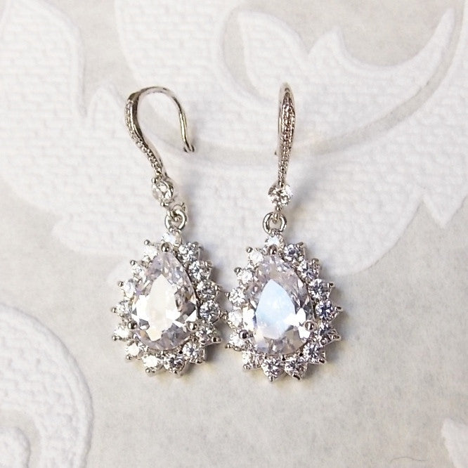 Classic Bridal Drop CZ Earrings