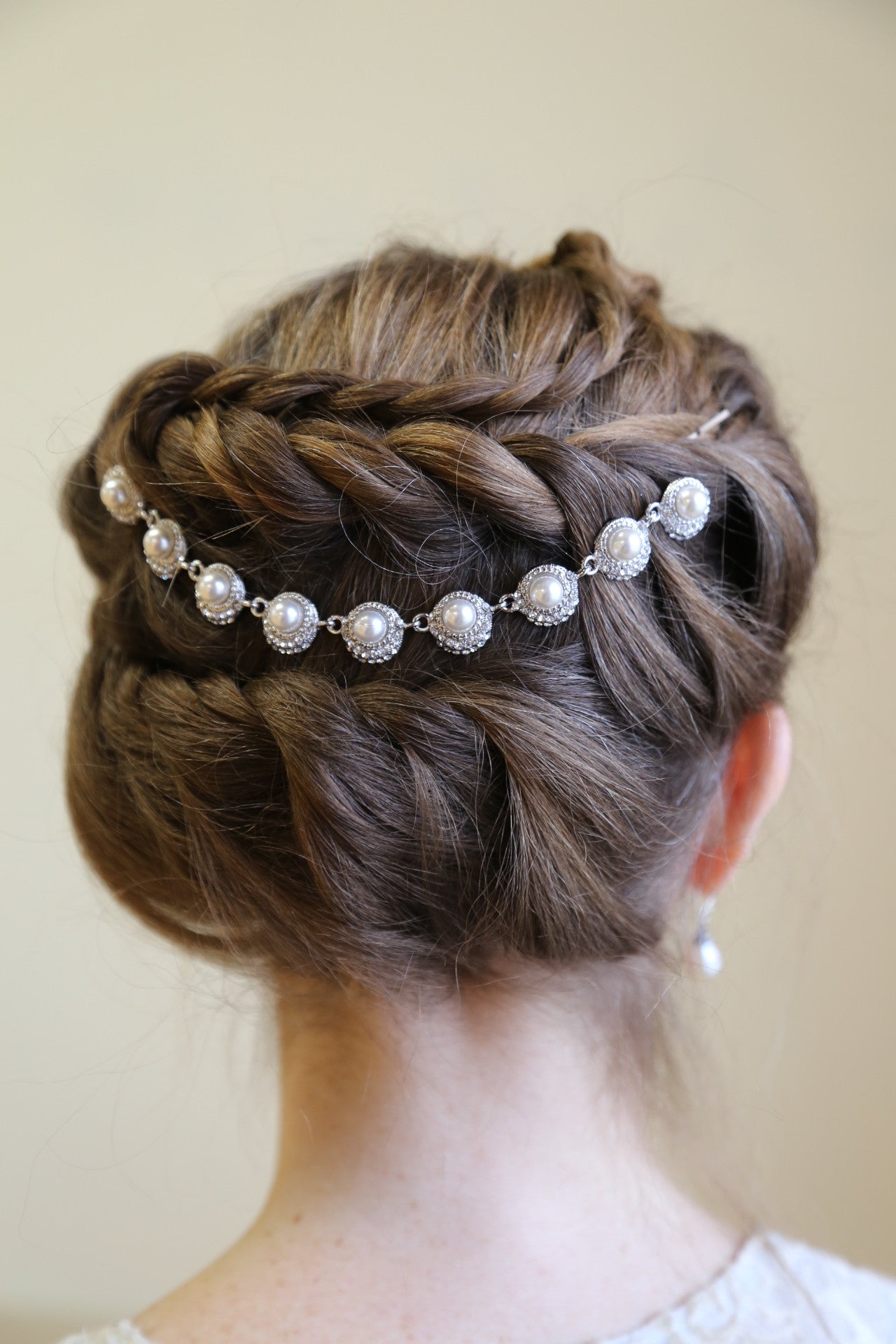 Bridal Hair Chain Pearls or Crystal Wedding Headpiece