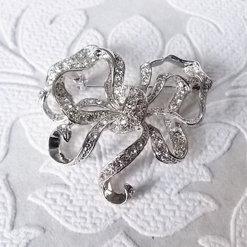 Ribbon Bow Pin Bridal Wedding Jewelry made w/ Swarovski Crystal Brooch