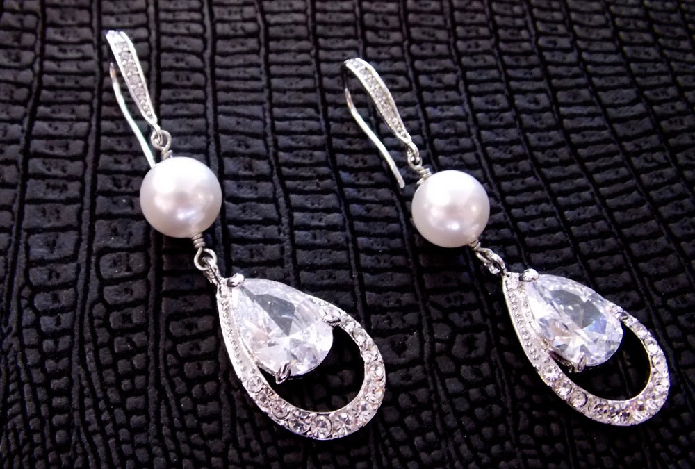 Bridal Earrings with Handwrapped Pearls