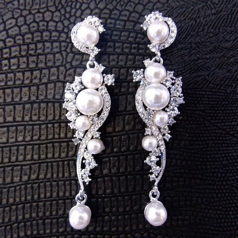 Bohemian Bridal Earring with Faux Pearls