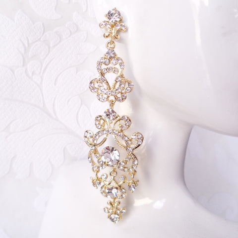 "3.75"" Long Victorian Bridal Chandelier Earrings"