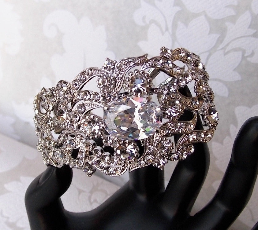 Art Deco Style Bridal 20s Wedding Bracelet Bangle made with Swarovski Crystal