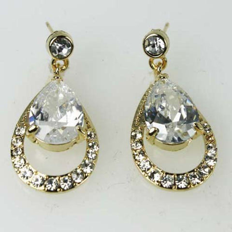 Clear Bridal Wedding Dangle Drop Earrings Goldtone made with Swarovski Crystal