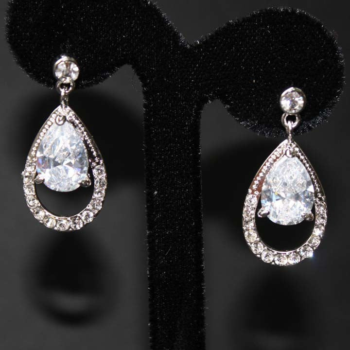 Classic Drop Art Deco Wedding Earrings
