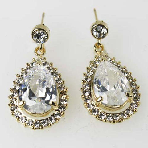 Clear Bridal Wedding Drop Dangle Earrings Goldtone made with Swarovski Crystal