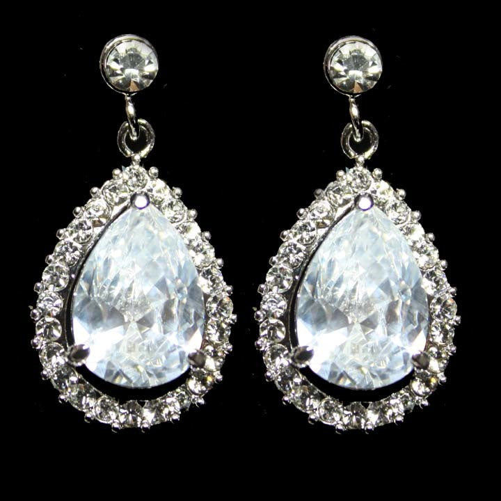 Classic Drop Art Deco Bridal Earrings
