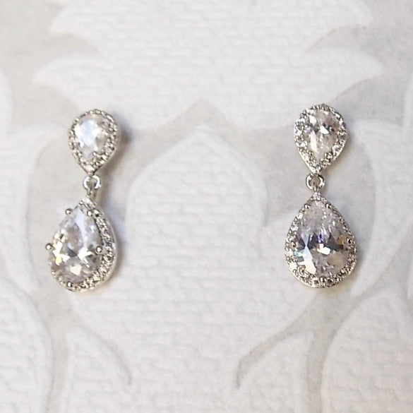Classic CZ Bridal Drop Earrings