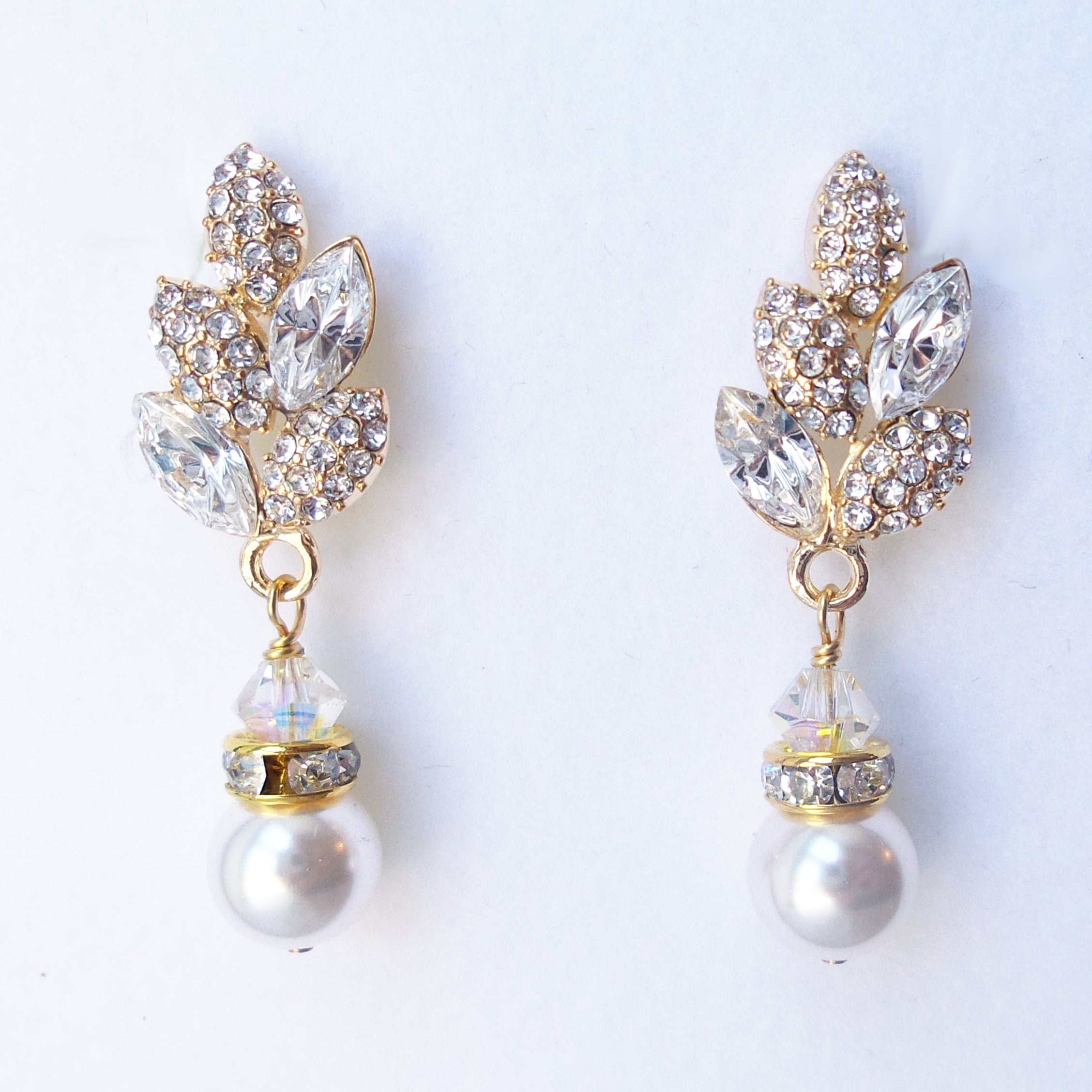 Leaf Stud Pearl Drop Earrings