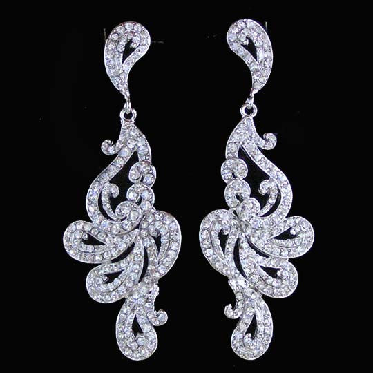"3"" Long Victorian Swirl Wedding Chandelier Earrings"
