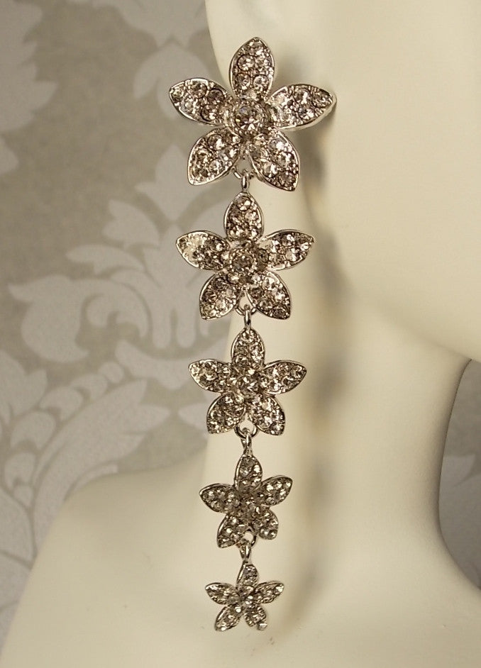 Floral Bridal Long Dangle Earrings made w/ Swarovski Crystal Wedding Jewelry NEW