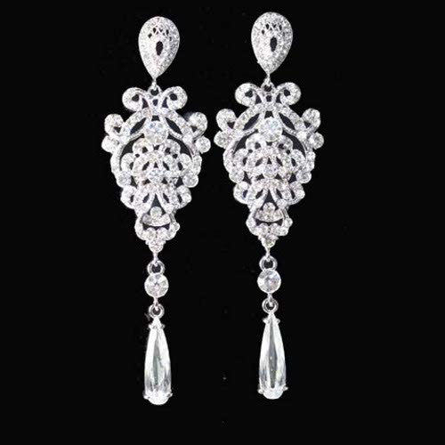 "4"" Long Victorian Bridal Chandelier Earrings"