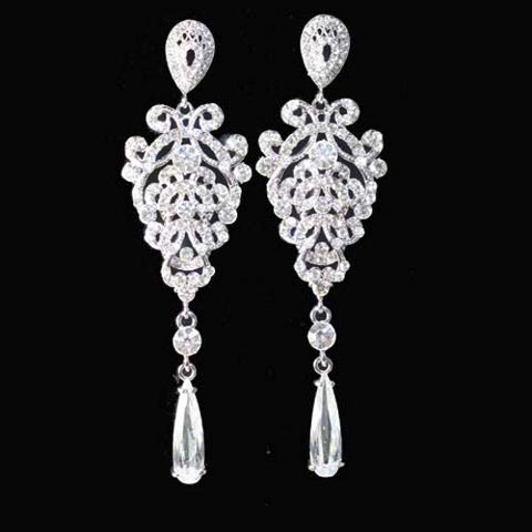 "4"" Long Victoriam Bridal Chandelier Earrings"
