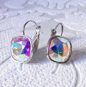 Aurora Borealis AB Leverback Drop Earrings made w/ Cushion Cut Swarovski Crystal