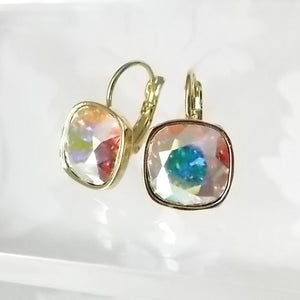 Cushion Cut Swarovski Crystal Leverback Drop Earrings