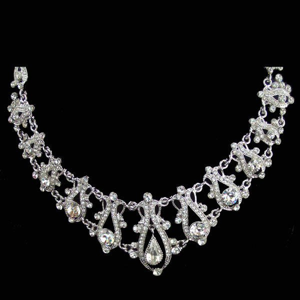 Victorian Style Bridal Wedding Necklace Set Signed SNK made with Swarovski Crystal