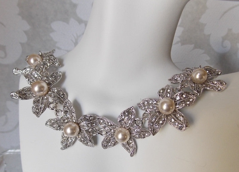 Floral Pearl Bridal Choker Necklace made w/ Swarovski Crystal Pave Rhinestone