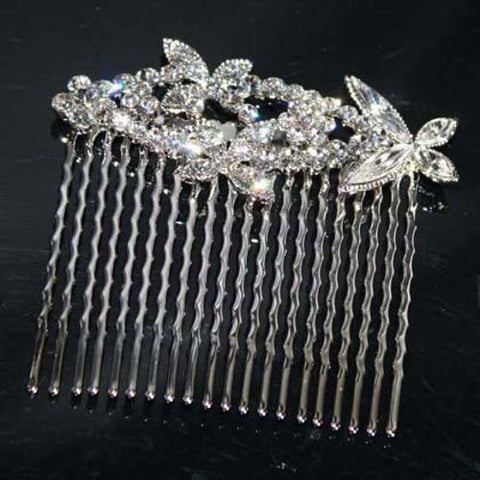 Butterfly Clear Bridal Wedding Hair Comb SNK Jewelry made with Swarovski Crystal