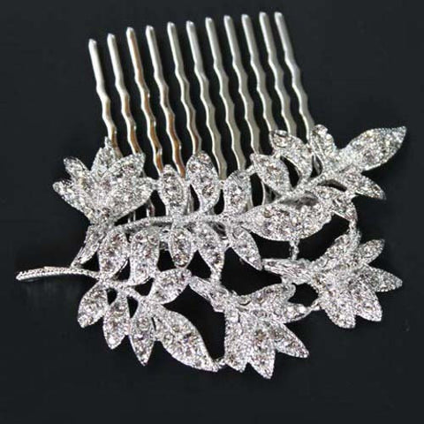 Leaf Wedding Hair Comb with Clear Swarovski Crystal Bridal Jewelry
