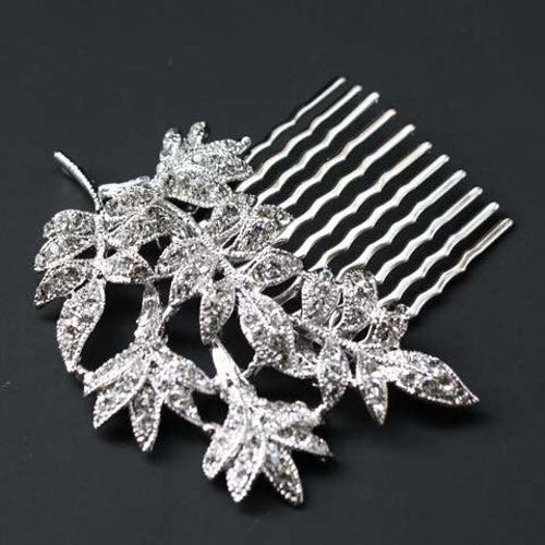 Leaf Bridal Wedding Hair Comb SNK Clear Silvertone made with Swarovski Crystal