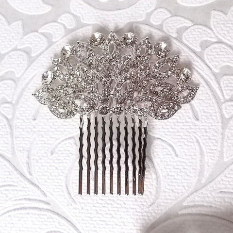 Floral Bridal Bride Wedding Hair Comb SNK Clear made with Swarovski Crystal