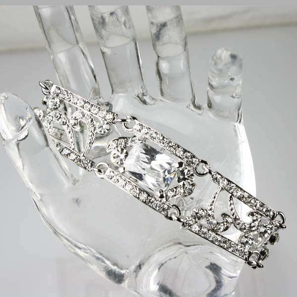 Clear Art Deco Style Bridal Wedding Bracelet Bangle made with Swarovski Crystal